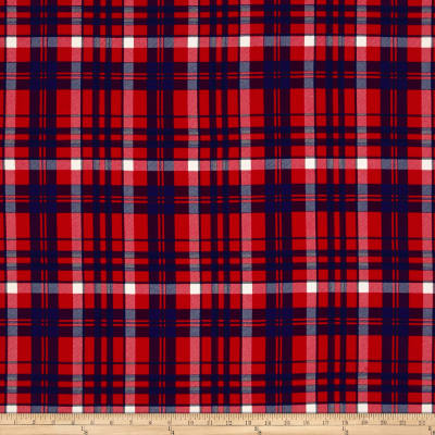 Double Brushed Jersey Knit Plaid Red/Royal