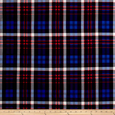 Double Brushed Jersey Knit Plaid Royal