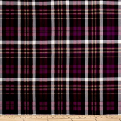 Double Brushed Jersey Knit Plaid Mulberry