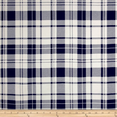 Double Brushed Jersey Knit Plaid Navy/Ivory