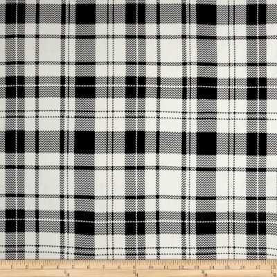 Double Brushed Jersey Knit Plaid Black/Ivory
