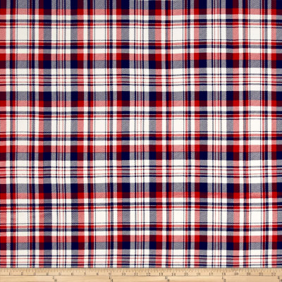 Double Brushed Jersey Knit Plaid Red/Navy