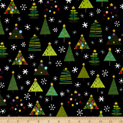Andover Holiday Tweets Trees Black