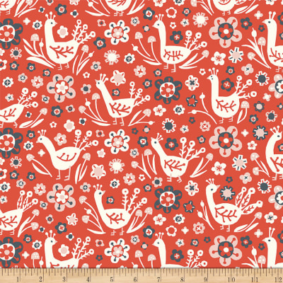 Birch Organic Folkland Pheasants Red Knit