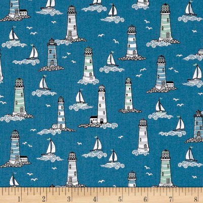 Andover/Makower UK Beachcomber Lighthouses Blue