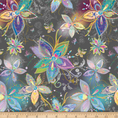 QT Fabrics Enchanted Floral Large Floral Charcoal
