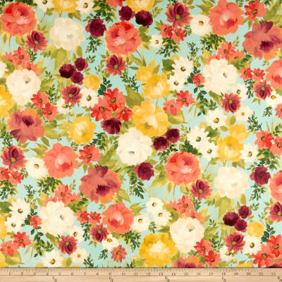 QT Fabrics Lilian Large Floral Light Aqua