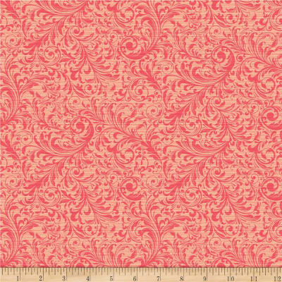 QT Fabrics Lilian Textured Scroll Pink