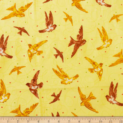 QT Fabrics Marlena Birds Yellow