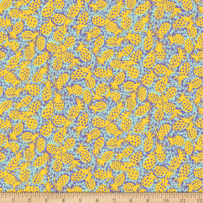 QT Fabrics Marlena Pineapples Blue