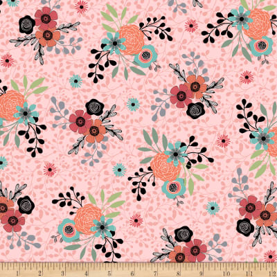 QT Fabrics Piece Of Cake Spaced Floral Medium Pink