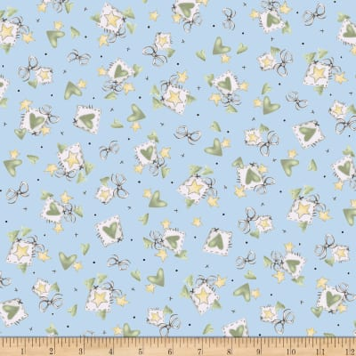 QT Fabrics Up, Up & Away Hearts & Stars Blue