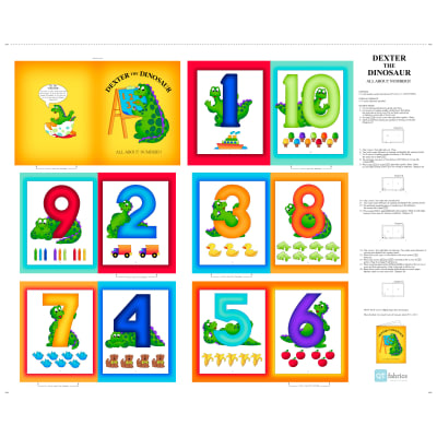 "QT Fabrics Sew N Go V Dexter The Dinosaur All About Numbers 35"" Book Panel Multi"