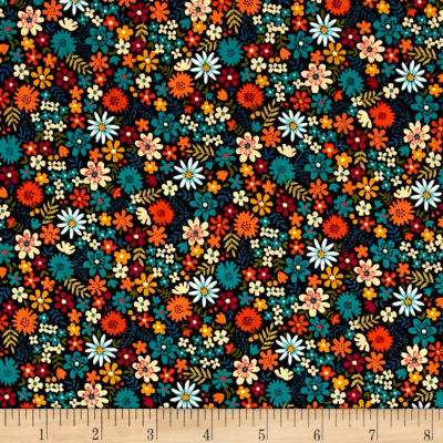 Andover/Makower Bloom Packed Flowers Teal