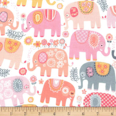 Michael Miller Happy Elephants  Flannel Happy Elephants Pink