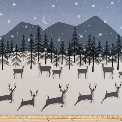 Michael Miller Winter Tails Prancing Deer Border Celestial