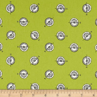Paperdoll Polka Button Green