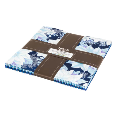 "Kaufman Holiday Flourish 10"" Squares 42 Pcs. Metallic Peacock"