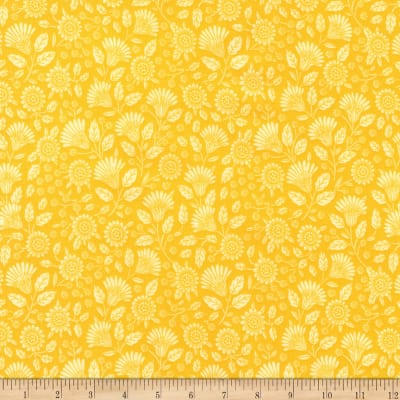 Kaufman Delphine Tonal Flowers Yellow