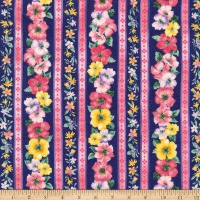 Kaufman Woodside Blossom Flowers Stripes Navy