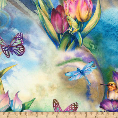 Kaufman Morningmoon Fairies Garden Flowers Birds Butterflies Multi