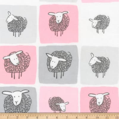 Kaufman Wooley Sheep Squares Pink