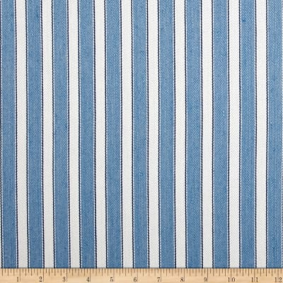 Schumacher Antique Ticking Stripe Linen Bleu Twill