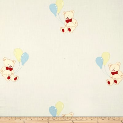 100% Cotton Teddy Balloons Embroidery