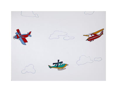 100% Cotton Airplanes Embroidery