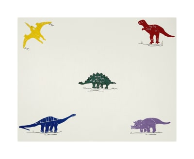 100% Cotton Dinosaurs Embroidery