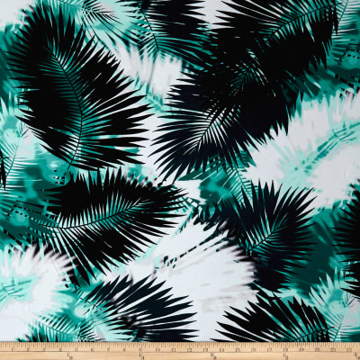 Bursting Palm Leaf Print ITY Knit  Sea Green and Emerald