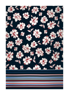 Sketched Floral Print ITY Knit Orange, Blue and Pink