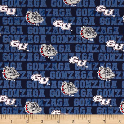 NCAA Gonzaga Buklldogs Distressed Logo Allover Blue