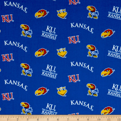 NCAA University of Kansas Tossed Logos Blue