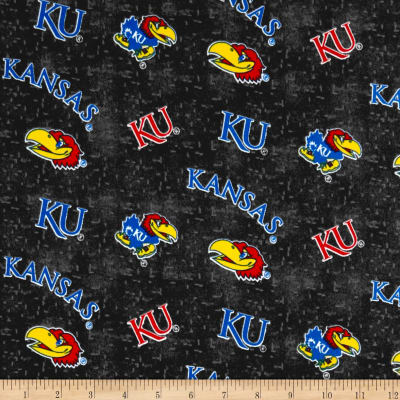 NCAA University of Kansas Flannel Distressed Logo Grey