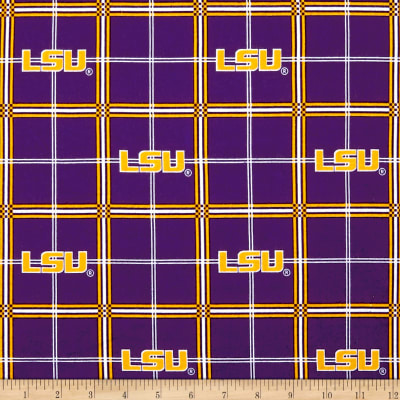 NCAA Louisiana State University Tigers Flannel Plaid Purple