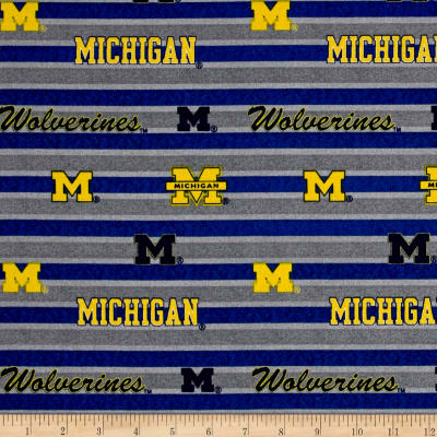 NCAA University of Michigan Polo Stripe Allover Blue/Grey