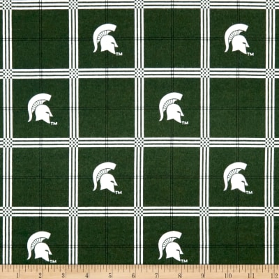 NCAA University of Michigan State Spartans Flannel Plaid Green/White