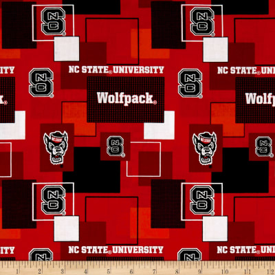 NCAA North Carolina State University Blocks Allover Black/Red