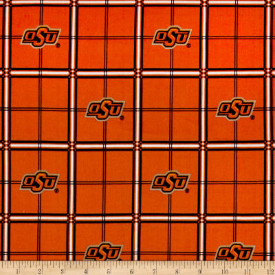NCAA University of Oklahoma State Cowboys Flannel Plaid Orange