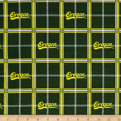NCAA University of Oregon Ducks Flannel Plaid Green/White