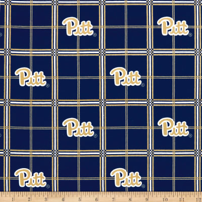 NCAA University of Pittsburgh Panthers Flannel Plaid Blue/Yellow