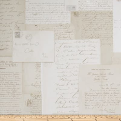 French General Lettres D Amour Wallpaper Bisque (Double Roll)