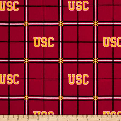 NCAA University of South Carolina Trojans Flannel Plaid Red