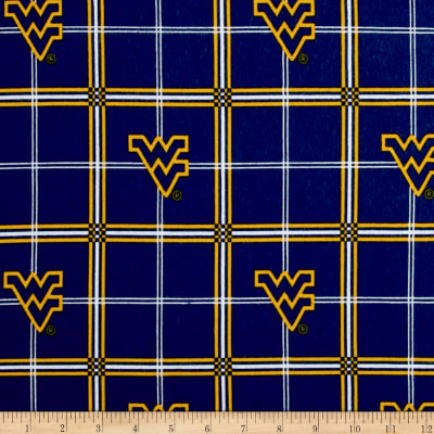 NCAA University of West Virginia Mountaineers Flannel Plaid Blue/Yellow