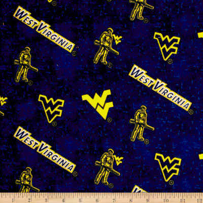 NCAA University of West Virginia Flannel Distressed Logo Blue/Yellow