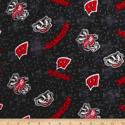 NCAA University of Wisconsin Flannel Distressed Logo Red/Black