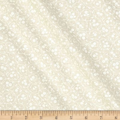 Classic Tone on Tone Floral Circles White/Tan