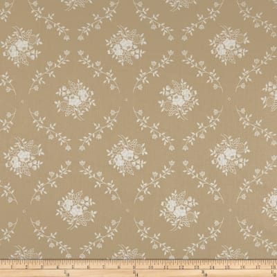 "108"" Wide Back Monotones Floral Vine White/Teastain"