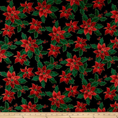Christmas Cheer Poinsettias Metallic Black